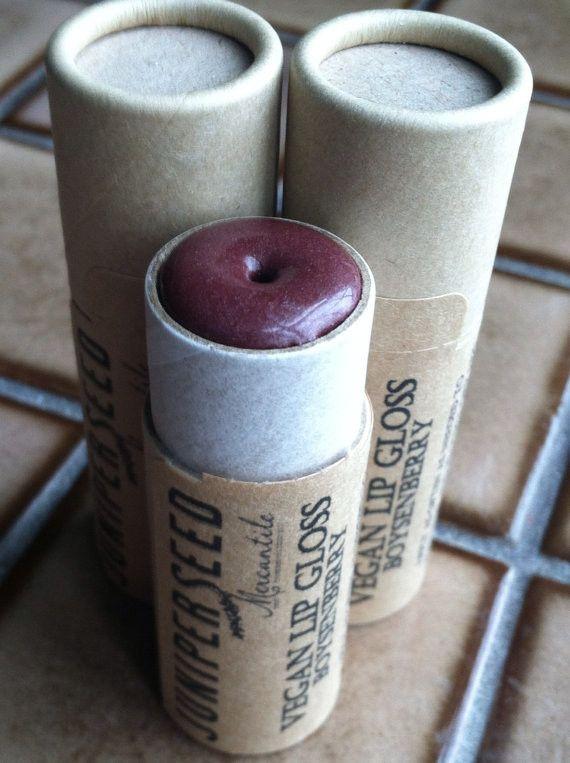 Vegan Lip Gloss – Boysenberry – Big 0.33 ounce Compostable Plastic Free Cardboard Packaging
