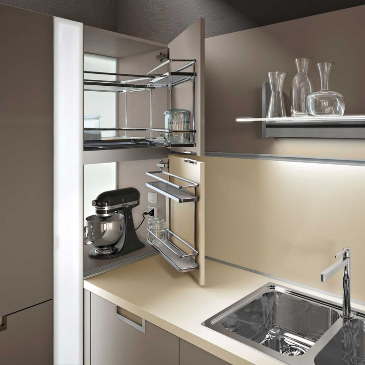 INSIDE kitchen with recessed lamp on cabinet (Lux - Snaidero)