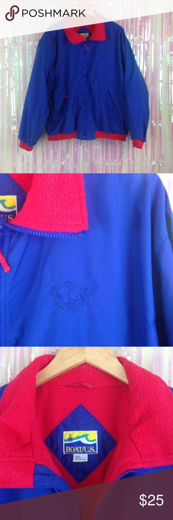 Vtg 80s 90s color block nautical coat jacket