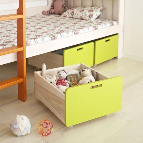 スペースは徹底的に活用~ベッド収納の極意~|SUVACO(スバコ) E-ko ホワイトパイン天然木子ども家具シリーズ E-koベッド下収納