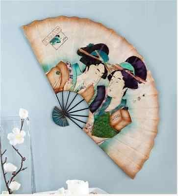 Anese Fan Art Hanging Metal Wall Decor Geisha Oriental Asian S Decoration