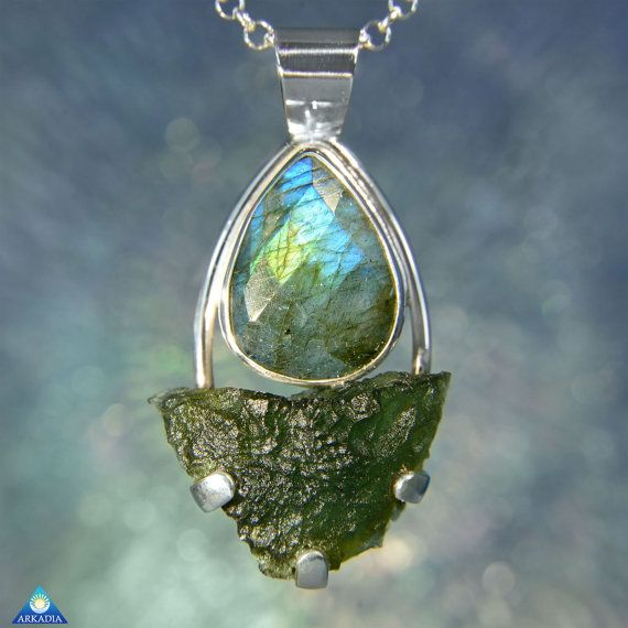Labradorite Facet & Natural Raw Moldavite 40 by ArkadianCollection