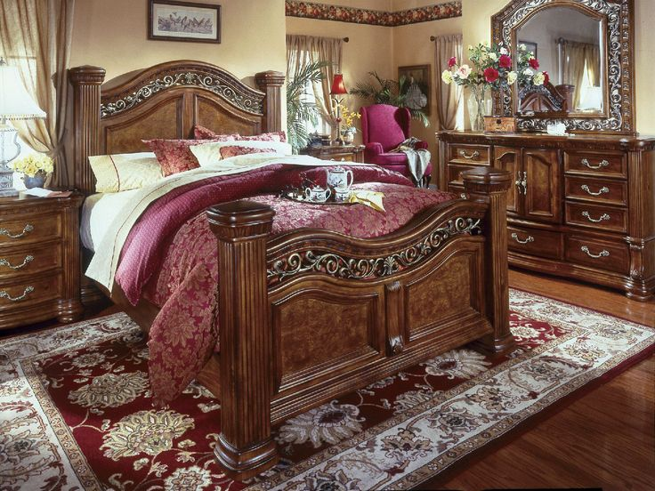 Bedrooms Furniture Stores Cordoba 4Piece Queen Poster Bedroom Suite At Hom Furniture .