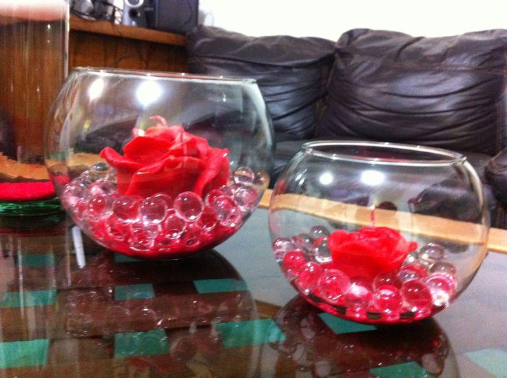 Rosas en peceras ideales para centros de mesa quince - Decoraciones de peceras ...