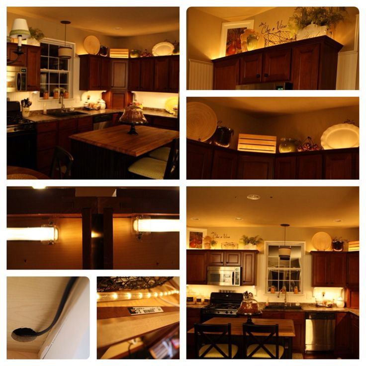 Adding lights above and below the cabinets. #DIY