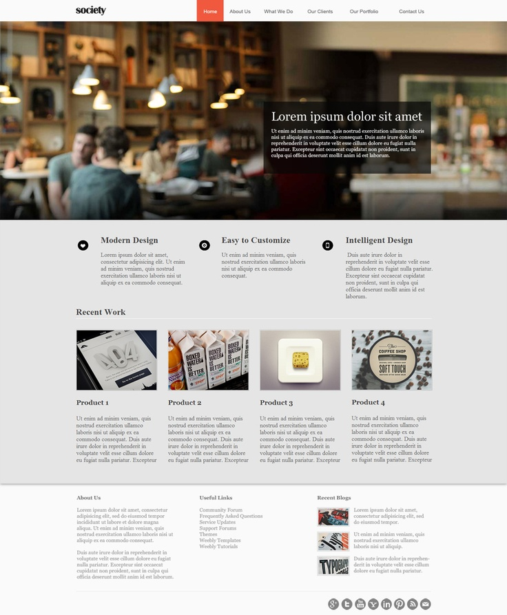 Professional Weebly Theme - Society is the easiest way to add a modern  twist to a traditional business design. Giving your website a creative  spark, ...