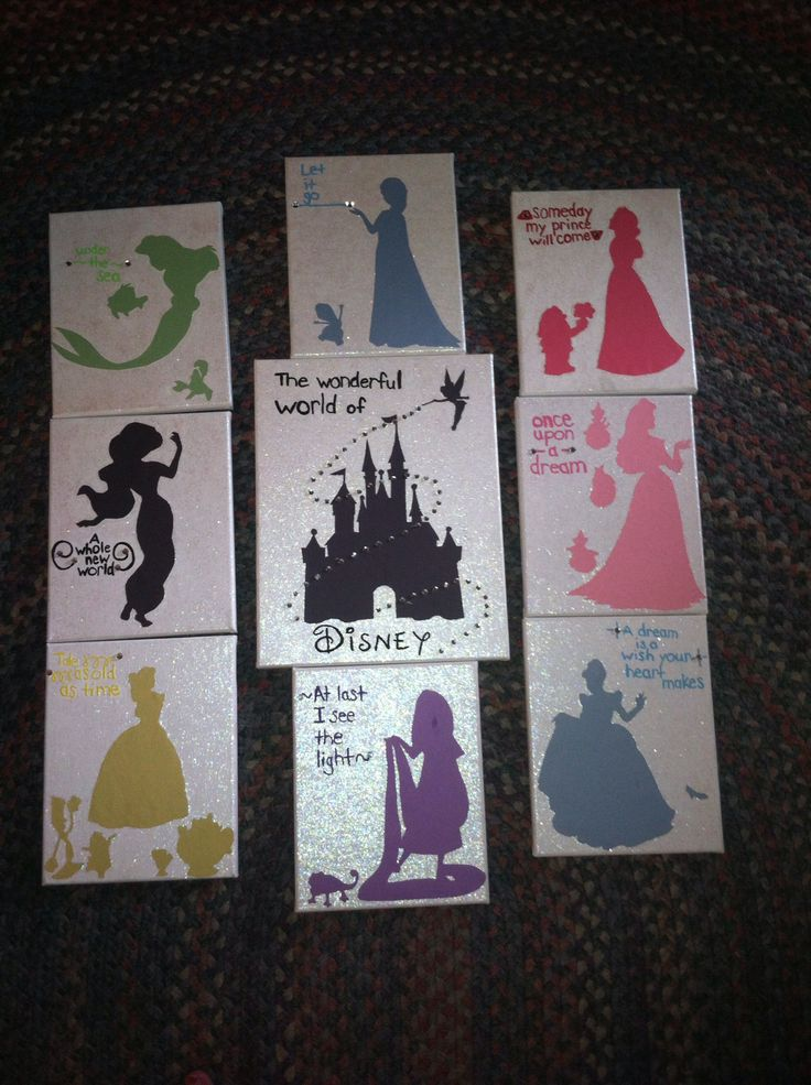 Disney princess canvas, Disney princess crafts