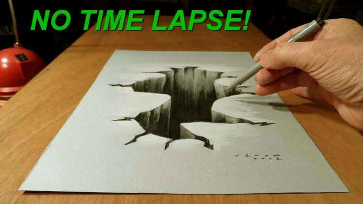 No Time Lapse! Trick Art on Paper, Drawing  3D Hole