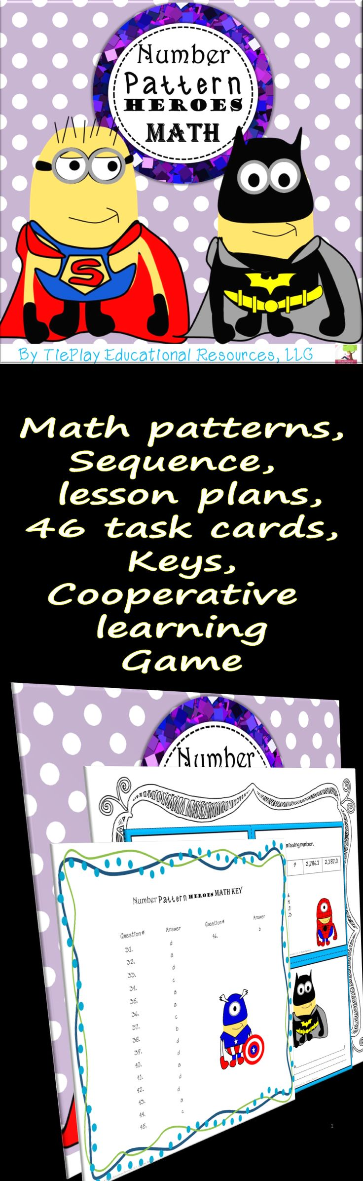 Price $5.50 Bello! Pwede na? In this fun math pattern lesson, learners answer questions after lesson plans activities. Number Pattern Heroes Math can be used as an extension, class game, cooperative group review or as a math center. This lesson includes 46 task cards, keys, lesson plans, links, and song activities.