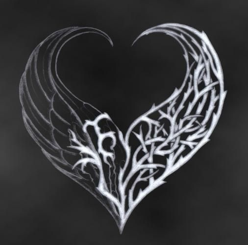 Thorn Wing Heart; art, Black, Drawing, gothic, heart, love, painting, picture, thorn wing heart, Thorns, White, wings