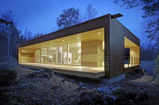 Åpner seg mot skogen: plusvilla 80 har en åpen, lys innredning og ...