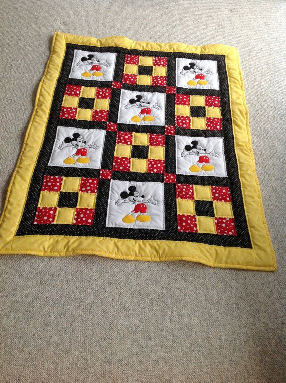 Baby Quilt, Mickey Mouse Quilt, Red/Yellow/Black Polka Dots, Childs Mickey Mouse Quilt, Baby Shower Gift