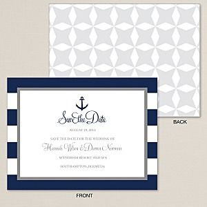 Nautical Stripes with Anchor Save the Date Card