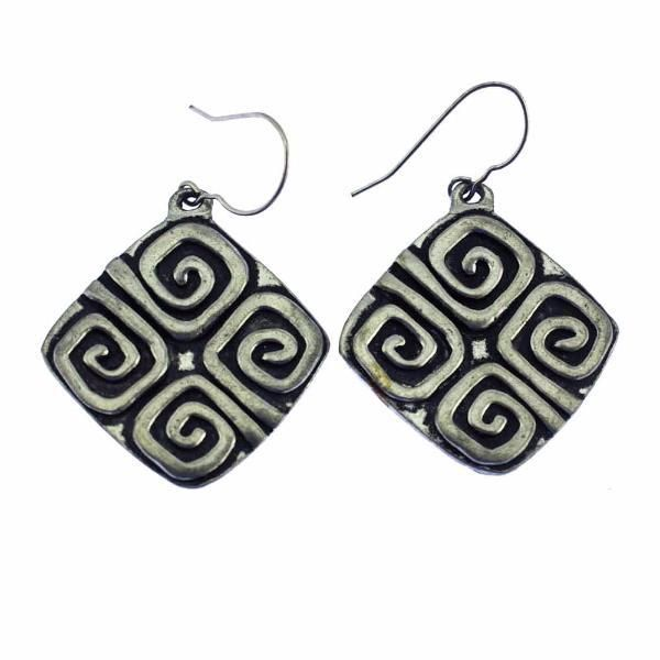 Large Silver Square Dangle Earrings