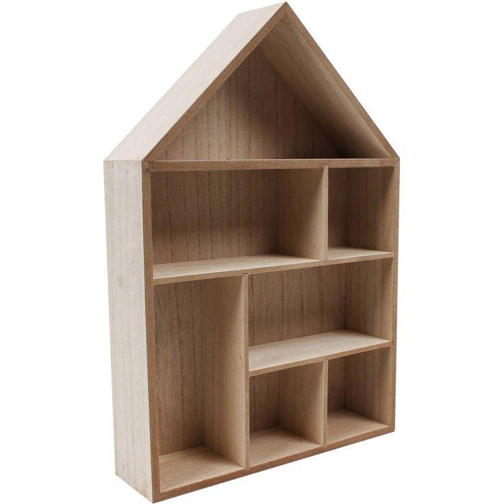 Wooden House Shelf 30 X 45 X 8 Cm   Hobbycraft