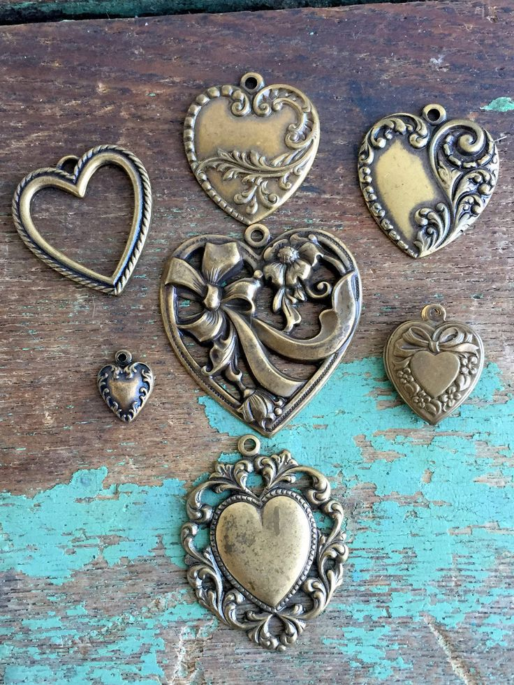 55 best vintage jewelry making supplies images on pinterest vintage lot 7 heart pendant charms jewelry supplies stamped brass hearts mozeypictures Images