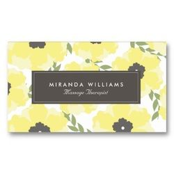 Yellow Floral Business Cards by Origami Prints