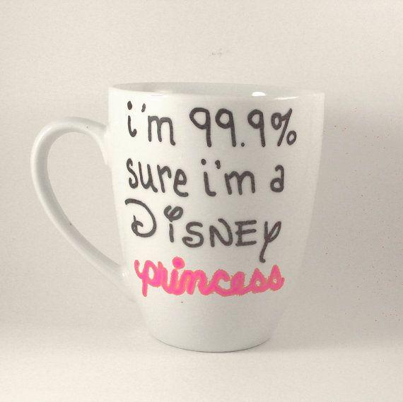 DISNEY PRINCESS Coffee Cup Quote Mugs Hand Painted tea mug pink girl $9.00