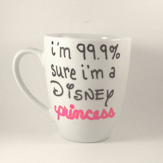 DISNEY PRINCESS Coffee Cup Quote Mugs Hand Painted tea mug pink girl $9.00