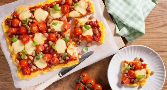 Do Friday night pizza a little different with Eat Live Move's recipe for Polenta Pizza.  #dinner #vegetarian #recipe