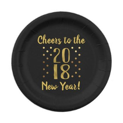 2018 New Year's Eve Party Faux Gold Foil Paper Plate - new years eve happy new year party design ideas holiday party