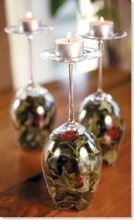 Upside Down Wine Glasses Turn Into Candle Holders