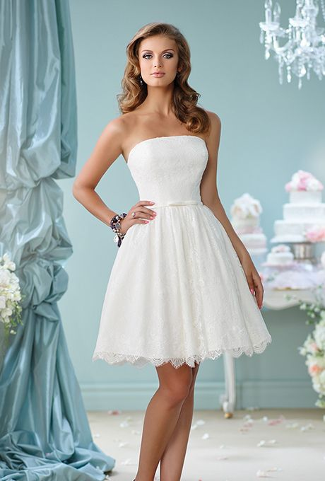Brides.com: . Style 116122, strapless knee-length lace A-line dress with a scalloped hem, price upon request, The Enchanting Collection by Mon Cheri