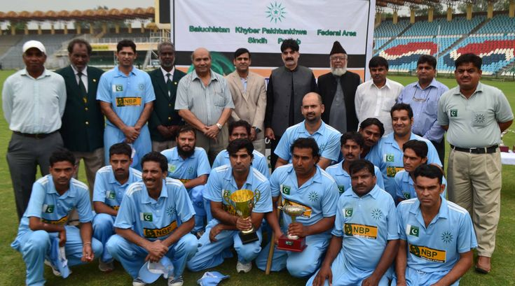 Punjab Disabled Cricket Team with Chief Guests Chief Operating Officer PCB Subhan Ahmed and Regional Head Lahore Central NBP Shahid Iqbal Dar on the Prize Distribution Ceremony of 4th NBP Disabled T-20 Pentangular Cup