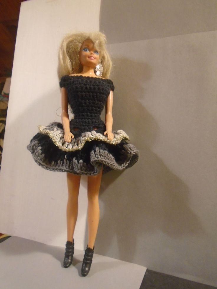 Black, grey and gold - elegant crocheted Barbie dress