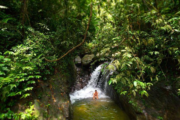 Une toilette bien méritée après une journée de marche dans la jungle ! Parc National du Gunung Leuser, Sumatra, Indonésie © Clément Racineux / Tonton Photo