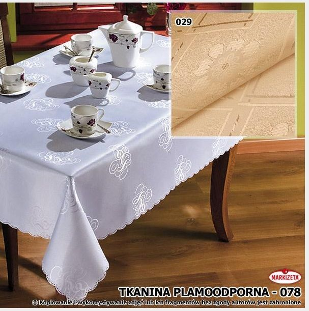 Beżowy #obrus_plamoodporny 120 x 160 cm Szykowny obrus plamoodporny z eleganckim wzorem. Obrus wykonany z wysokiej jakości materiału plamoodpornego. Plamoodporna tkanina sprawia, że unikniemy plam, zabrudzeń i osiadającego kurzu.  Obrus doskonale sprawdzi się jako dekoracja stołu w kuchni, jadalni, a także w restauracji czy hotelu.  kasandra.com.pl