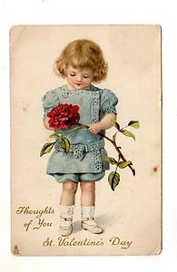Young Girl Rose Valentine Postcard