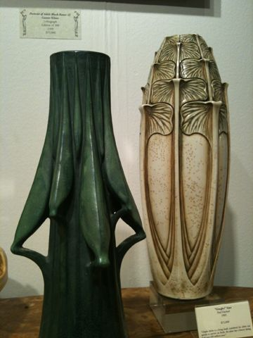Grasshopper Leg Vase and Ginkgo Vase by Paul Dachsel, for sale at Century Guild Decorative Arts (Booth 3080) this weekend at the International Antiques Fair.