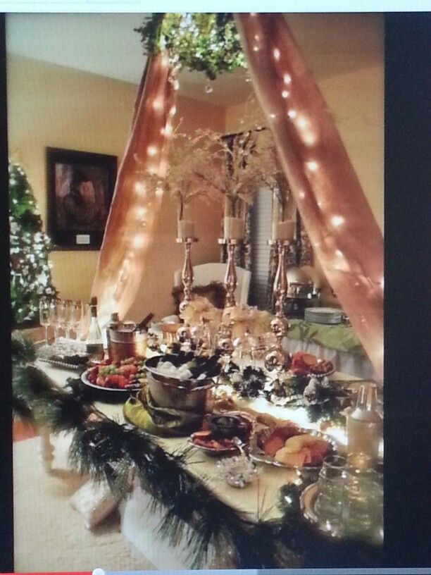 Holiday Buffet Table Decorating Ideas Part - 25: Love This Christmas Table Setting Idea