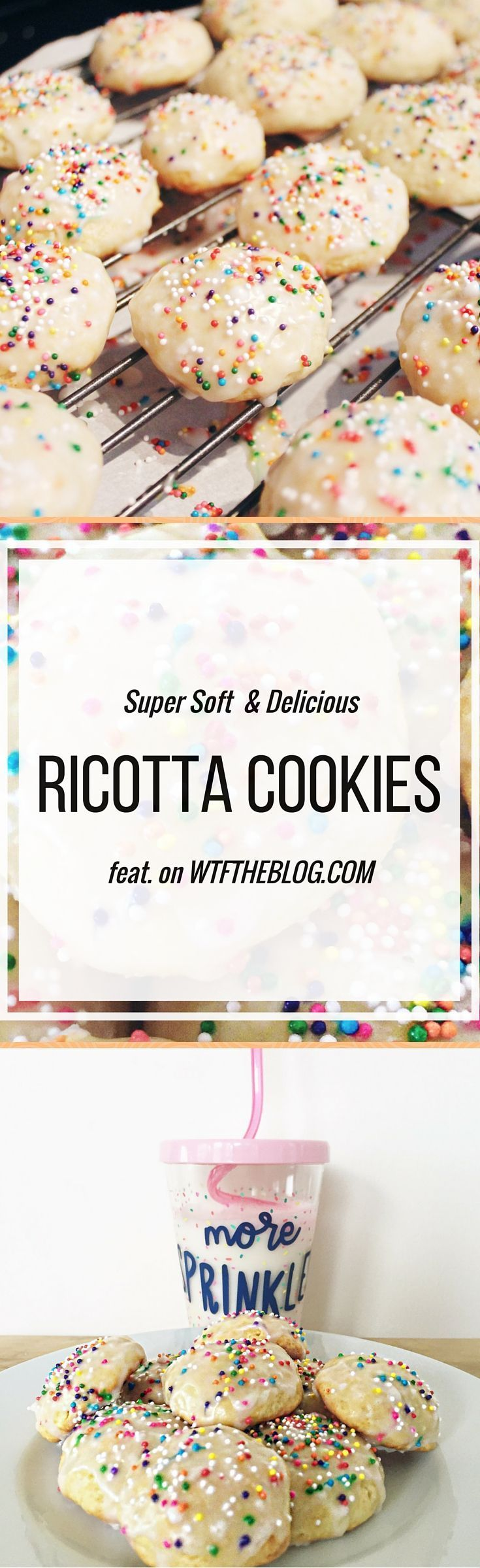 These Italian ricotta cookies are so soft and light and just melt in your mouth. They are topped with almond icing and sprinkles for mouth watering flavor.
