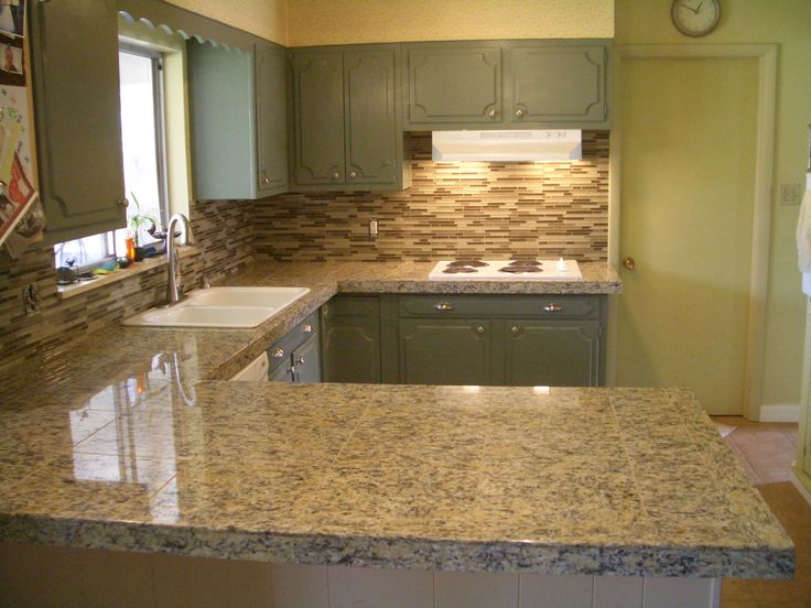 Granite Countertop And Glass Tile Kitchen Backsplash Tile Installation In Fort Collins Colorado