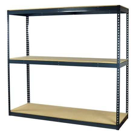 Storage Max Garage Shelving Boltless, 72 x 18 x 72, Heavy Duty, Double Rivet Z-Beams, 3 Shelves, White