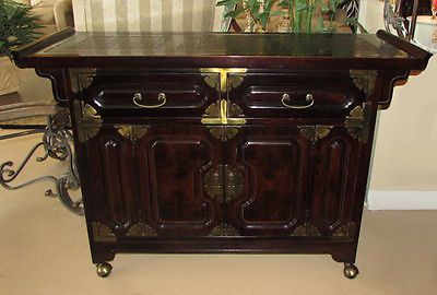 Vintage Bernhardt Asian Campaign Server Buffet Cabinet In