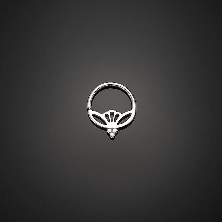 Silver Septum Ring, Lotus Septum, 17g Septum, Silver Nose Ring, Septum Piercing, Sterling Silver Nose Jewelry by NoitaDesigns by NoitaDesigns on Etsy