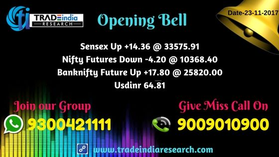 Stock Market Opening Bell #equity #Commodity #stocks #market #news #sensex #Bank #nifty #equity, #commodity, currency, depository, online #trading mutual funds, #opening Bell Update - 23rd November 2017 By TradeIndia Research