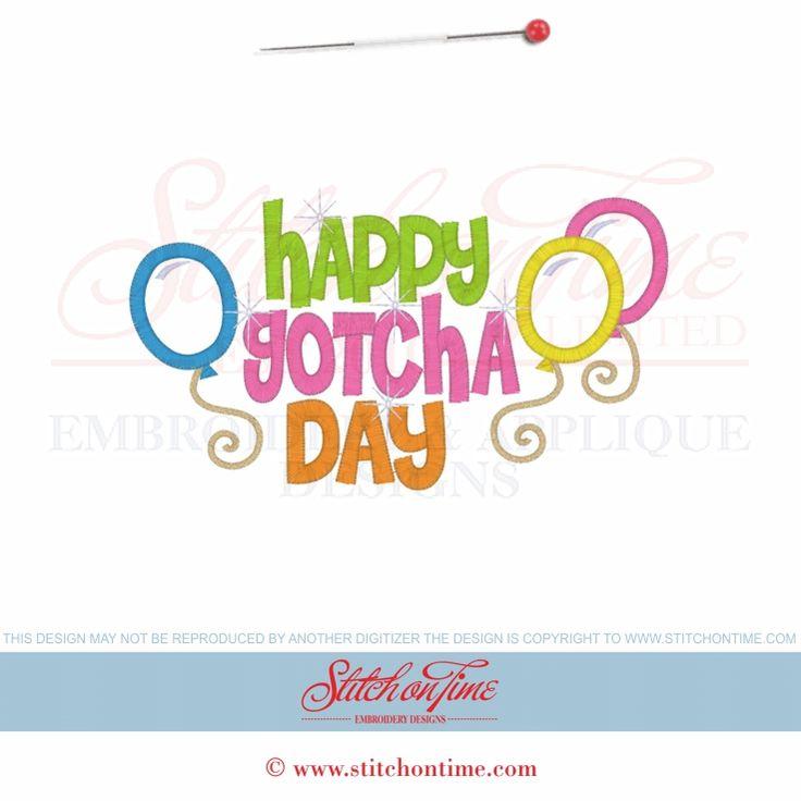 909 Birthday : Happy Gotcha Day Applique 5x7