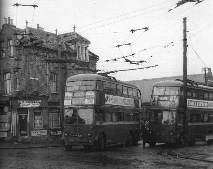 The Trolley Bus Café - the site of the tram terminus in 'Fowlers End'. It was until recently the makeshift forecourt of the North London Motor Company in Tramway Avenue. Credit – Graham Johnson's website.
