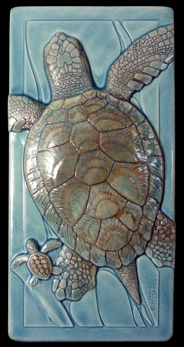 339 best natural etsy images on pinterest art tiles tile art wall art ceramic tile daddys girl loggerhead sea turtles 4 x 8 dailygadgetfo Gallery