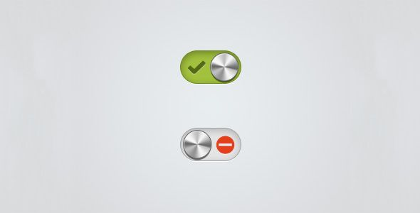 Here, both color and iconography hint at the toggle state, and perhaps the control's sematics.