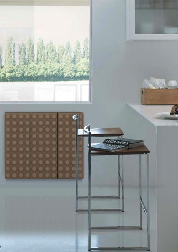 Lego-like wall radiator in the kitchen