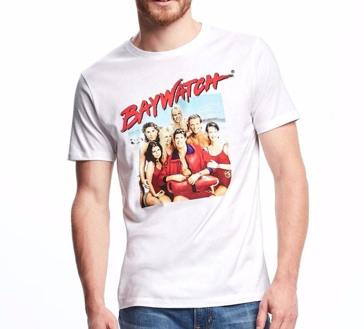new BAYWATCH T-SHIRT White Vtg-look 90s TV Show David Hasselhoff Cast MED & LRG #OldNavy #GraphicTee