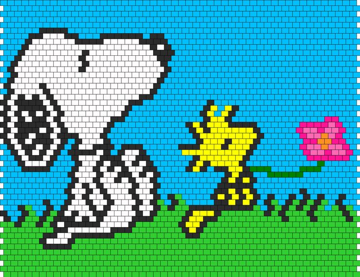 Snoopy And Woodstock bead pattern change to cross stitch