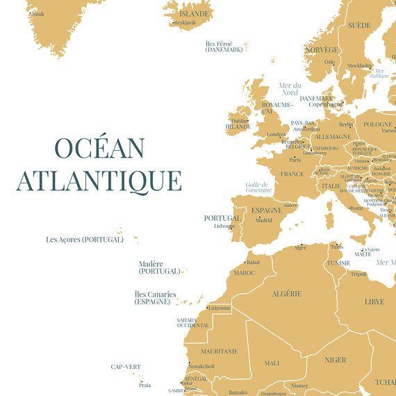 Grande Carte Du Monde Avec Les Pays Et Capitales En Francais