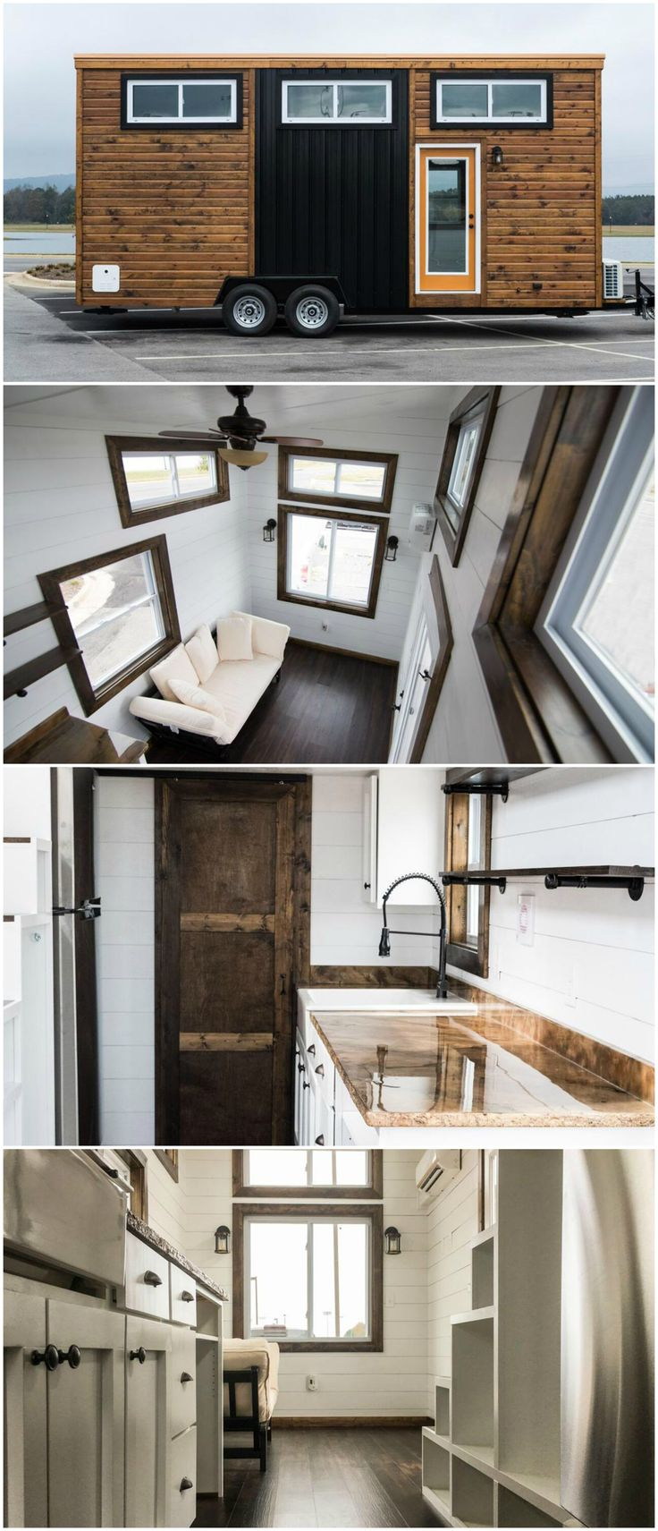 Fernweh is a beautiful tiny house built by Harmony Tiny Homes. The tiny house is a 24-foot home on wheels with spacious living room and galley kitchen. The kitchen has a custom made epoxy countertop with desk area, a white apron sink, and open shelves.  The exterior combines dark stained wood and a black metal accent piece. The back and sides are all black metal.