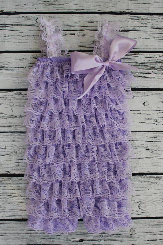Lace Ruffle Romper Light Purple Lilac For Baby Girl First